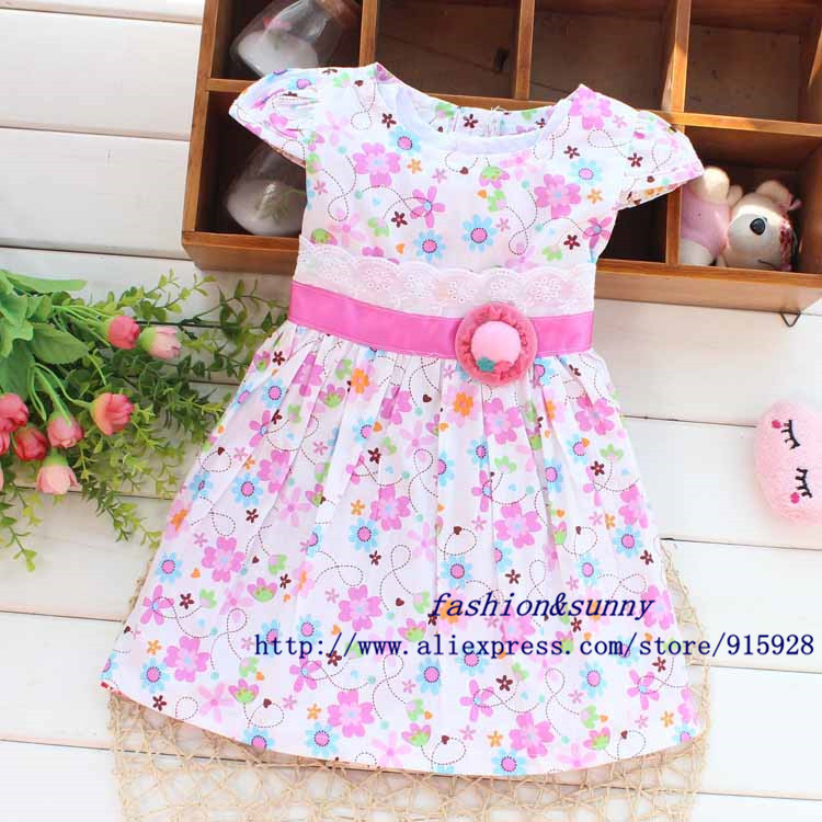 Free shipping 2014 Summer New flowers sun hat waistband baby girls dress,children princess dress,kid clothing#Z377(China (Mainland))