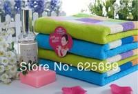 Free Shopping 100% cotton towel color magic lattice couple models   74*34CM 2pcs/lot