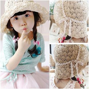 Бесплатная доставка 2015 новый детские девушки соломы вс шляпы на ручной большой флоппи пляже шляпу дети лето складной крышки