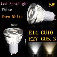 20pcslot  GU10/E27/E14/GU5.3 Dimmable  5W COB 12V High Power Led Light Bulbs Free Shipping