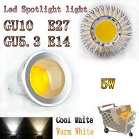 50pcs/lot China Post LED spotlight GU10/E27/E14/GU5.3 COB LED bulb lamp High brightness 3W /5W AC85-265V Warm White Cool White