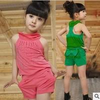 Retail 1 Set Summer  New 2014 Summer Kid Clothing Set Girls Sleeveless Clothing Sets Bow Fashion 2pcs CC0925