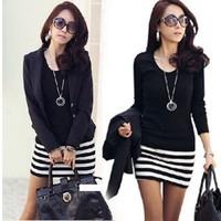 new spring women's striped dress package hip bottoming bottoming shirt Slim Korean