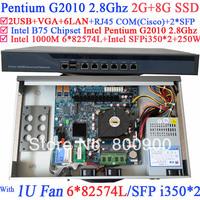 rack servers 1U best routers with 6*1000M 82574L Gigabit Nics 2* intel i350 SFP ports Intel Pentium G2010 2.8Ghz 2G RAM 8G SSD