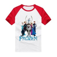 2014 Hot Sale Frozen Clothes Kids T Shirts Fashion Cotton Children Short Sleeves T-shirts For Boys and Girls Free Shipping