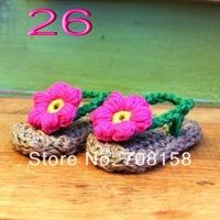 free shipping,Baby girls  Handmade Crochet Knit summer red flower Sandals shoes  0-12months