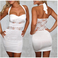 Free Shipping Women Lace Stretch Dress White Backless Wedding Party Ladies Summer Clothes S M L Bandage Bodycon Dress