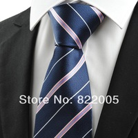 Min.order is $20 (mix order) Free shipping Pink White Striped Navy Blue JACQUARD Men's Tie Necktie Business Trip Gift #0009