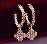2014  Fashion Luxury 18K Gold Plated  Zircon Clover Pendant Hook Earring Female Wedding Earring
