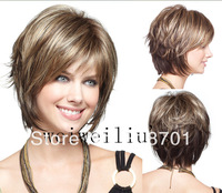 Sexy Hairstyle Short Straight Natural Brown with Blonde mix Synthetic Hair Wigs free shipping