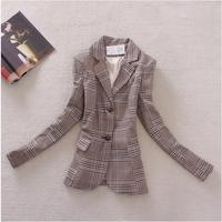 2014 Spring Summer Women Tops Outerwear Elegant Vintage Fashion Patchwork Sleeve Plaid Brief Slim Jacket Coat Blazer