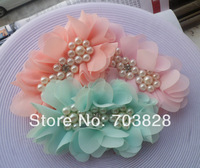 Free shipping Crystal & pearls center Chiffon flowers Children's hair accessories DIY flowers for headbands clothing