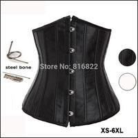 Spring 2014 New Embroidery Satin Steel Boned Black/White Corselet Waist Training Corset Women Shapewear Langerie Free Shipping