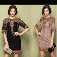 2014 Spring and Summer Women's Fashion Vintage Embroidered Lace Cutout Dress Elegant Half Sleeve Dress