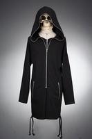 Men's clothing male spring exude zipper casual medium-long with a hood sweatshirt