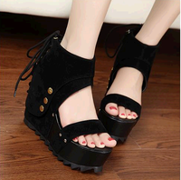 Sexy open toe platform wedges 2014 cool boots platform ultra high heels female sandals