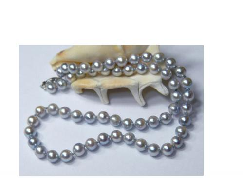 2014 new arrival Free delivery ARRIVE NICE 9-10MM SOUTH SEA GREY PEARL NECKLACE 18INCH 14K WHITE CLASP(China (Mainland))