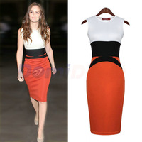 2014 New Autumn women OL Stitching Dress Celebrity Midi Bodycon Ladies Red Pencil Evening Slimming Panel Tea Dress