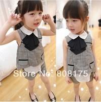 Female child 2014 summer small plaid faux two piece set vest style