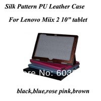 """New Arrival Stylish silk PU Leather stand cover for lenovo Miix 2 10"""" Tablet,Leather protective case for Lenovo MIIX 2, 4 olor"""