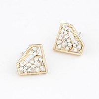 Earring fashion super man s letter triangle diamond sparkling diamond personalized stud earring earrings