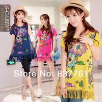 2014 spring and summer women new fashion loose tassel medium-long sweep short-sleeve T-shirt women's t shirts