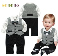 2014 Children'S Spring And Autumn Long-Sleeve Romper Kids Toddler Bowknot Gentleman Romper Jumpsuit