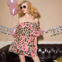 Free shipping Krazy party small sexy slit neckline leopard print chiffon multi-layer ruffle one-piece dress