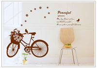 Free Shipping (2 pcs / lot ) High quality! The pastoral landscape of bicycle Stick Wall Decal DIY room by your own ideas