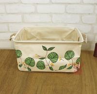 Zakka Pouch , Japanese green leaves storage box, fashion clothing and debris boxes , cotton ,hanging storage bag clothing