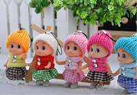 Cheap Sales 2014(20 pcs/lot send random) 8cm Baby Toys For Girls Baby doll Plush Toy Cell Phone& Bags Pendant