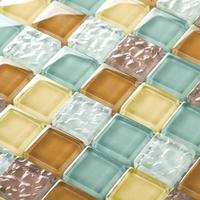 Wave glass tile backsplash mosaics decor mixed color mesh uk cheap crystal kitchen bathroom ideas wall stickers adhesive tiles