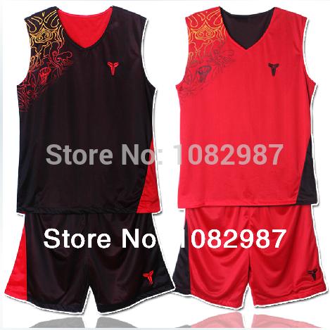 Reversible Kobe Bryant Basketball Kits Men Summer Outdoor & indoor Sports Outfits Sleeveless Jerseys Shirts Pants Basketball Set(China (Mainland))