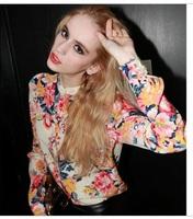 2014 fashion sexy chiffon shirt female slim long-sleeve shirt print plus size