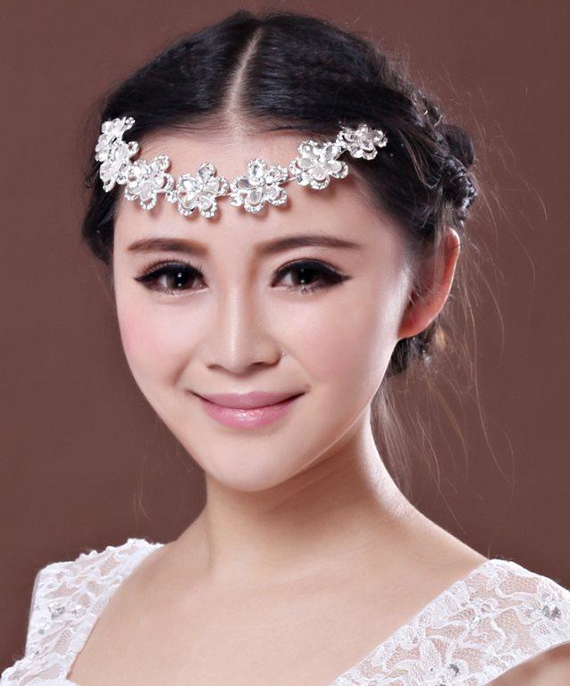 Colour bride pearl soft chain hair accessory rhinestone flower hair accessory wedding accessories marriage accessories