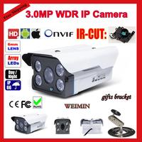 3 Megapixel Full HD Onvif 1080P IP Camera,3mp lens 4Leds Array IR  IP66 Waterproof Metal Bullet Network Webcam