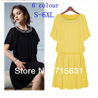4XL 5XL 6XL Women Short Sleeve Chiffon Dress 2014 Spring Summer New Fashion Pleated Dress, Female Casual Plus Size Dresses S-6XL