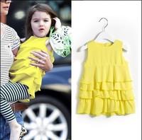 2014 children's summer clothing skirt stripe female child princess dress one -piece dress puff skirt