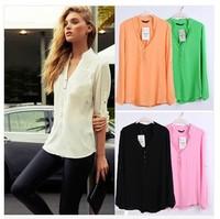 Free Shipping 2014 Women Spring Summer New Fashion 5 Candy Colors Long Sleeve V Neck Top Blouse Chiffon Shirt Feminina