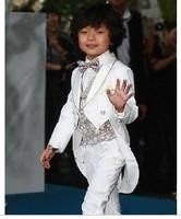 robe enfantMale child white tuxedo piano performance costume child flower girl wear formal dress children's clothing