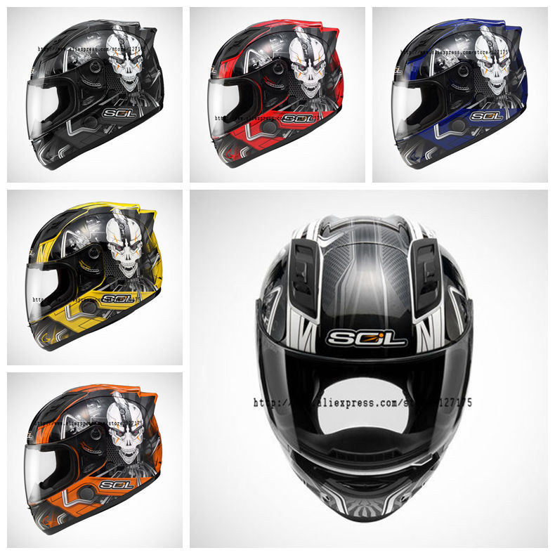 SOL-68SII-0144,Iron Man Series Helmet,6 Colors Choosen,Full-face,Motorcycle,DEVS Air Control System,Coolmax Lining,DOT Test(China (Mainland))