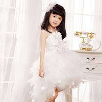 robe enfant White jumpsuit puff skirt princess dress child dance clothes flower girl formal dress female child b001