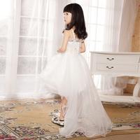 Child small train wedding dress white jumpsuit princess dress costumes flower girls female formal dress costume b003