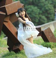 Beautiful flower girl long drag wedding formal dress female child train formal dress spaghetti strap sexy child formal dress