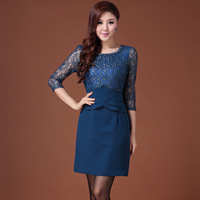 New arrival 2013 autumn and winter plus size half sleeve one-piece dress vintage ol slim hip middle-age women