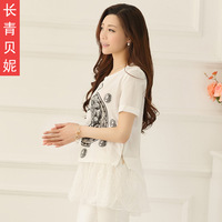 2014 summer new arrival short brief design o-neck pattern lace sweep short-sleeve T-shirt basic shirt