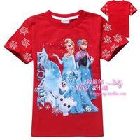 2014 100% Cotton Brand children t shirts Kids Baby Girls Frozen ELSA ANNA Short-sleeve T-shirts Summer kid frozen girl t-shirts