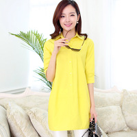 Evergreen 2014 summer 7 candy color brief elegant ol female cotton shirt women summer dress summer dress 2014 party dresses