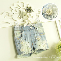 Fashion broken-hole jeans~  Wholesale (#1328) 5pcs/lot  ,girls short, Korean style girls clothes,2014 summer new girls shorts