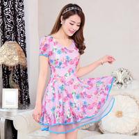 Evergreen 2014 summer short-sleeve medium-long o-neck ruffle dress female one-piece dress